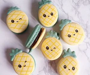 food, macaroons, and pineapple image