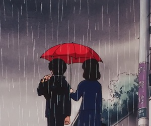anime, rain, and 80s image