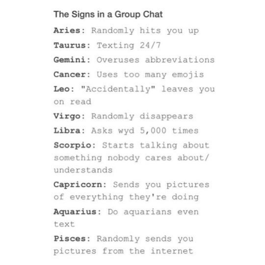the signs in a group chat on We Heart It