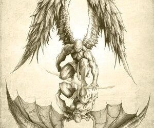 angel, black&white, and drawing image