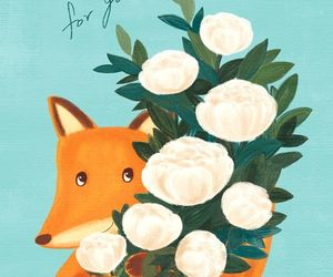 art, flower, and fox image
