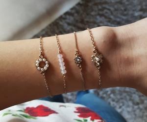 bracelets, gold, and rose image
