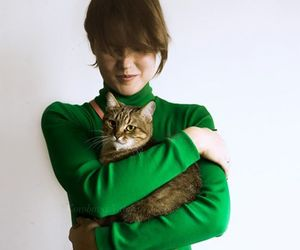 girl and cat, kitten, and kitty image