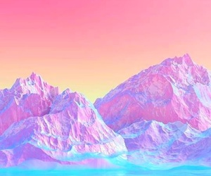 pink, mountains, and purple image