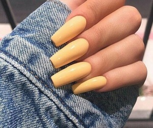nails, yellow, and beauty image