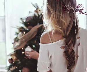 hair, christmas, and winter image