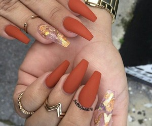 nails, orange, and gold image