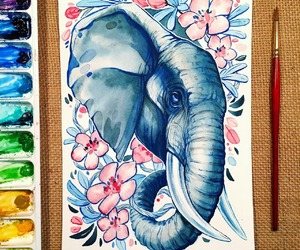art, creative, and elephant image