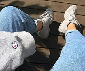 champion, denim, and outfit image