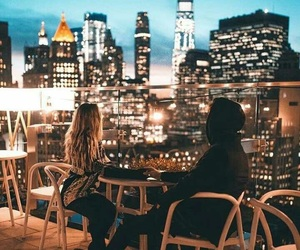 couple, new york, and city image