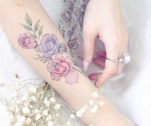 art, Tattoos, and flower image
