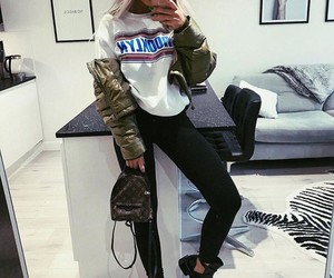 bomber, boots, and fashion image