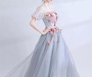 dress, fashion, and floor length prom dress image