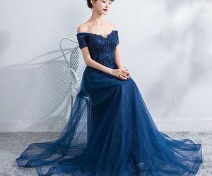 dresses, elegant, and navy blue image