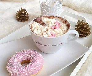 coffee, donuts, and pink image