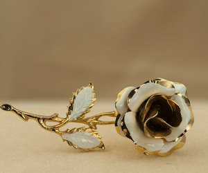 1960s, etsy, and vintage rose brooch image