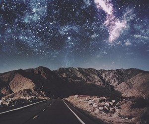 mountains, road, and space image