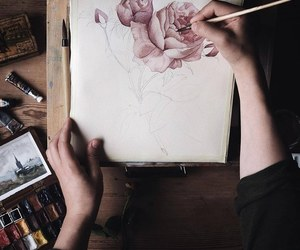 inspiration, sketch, and rose image