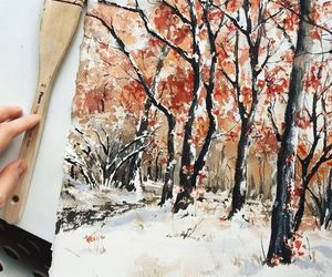 painting, snow, and winter image