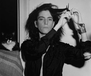 black and white, cat, and Patti Smith image