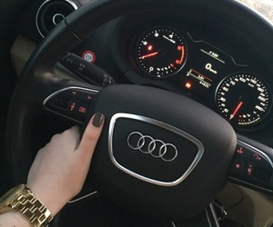 audi, black car, and golden watch image