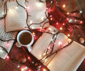 lights, book, and winter image