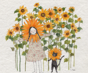 cat, sunflower, and girl image