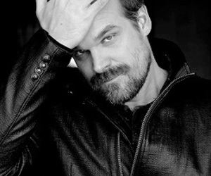 stranger things, david harbour, and black and white image
