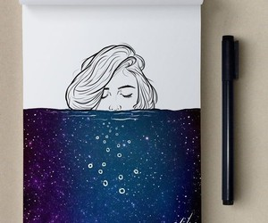 artist, water, and galaxy image