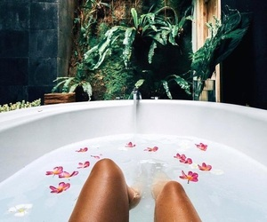 summer, bath, and flowers image