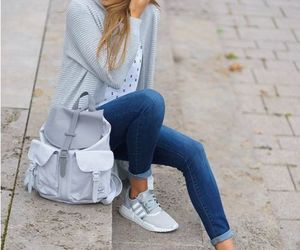backpack, cardigan, and chunky image