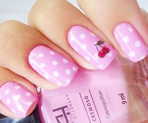 nails, pink, and cherry image