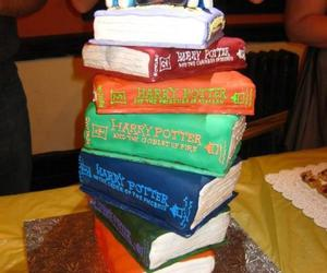 books, cake, and harry potter image