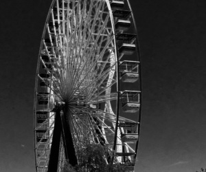 amusement park, black and white, and night image