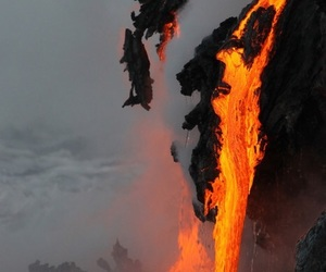 lava, fire, and volcano image