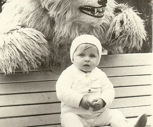 baby, black and white, and monster image