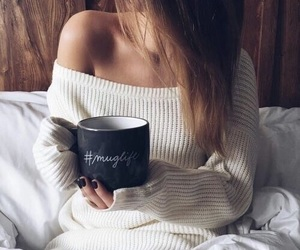 girl, tumblr, and coffee image