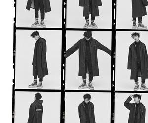 asian, b&w, and coat image