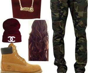 beanie, timberlands, and camo image