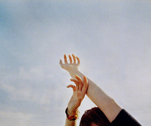 vintage, hands, and sky image