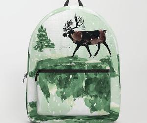 backpack, merry christmas, and reindeer image