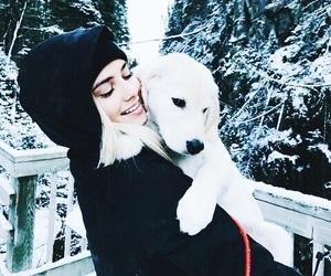 dog, girl, and winter image