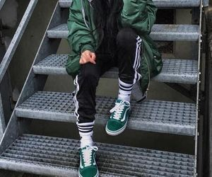 grey hoodie, adidas track pants, and green bomber jacket image