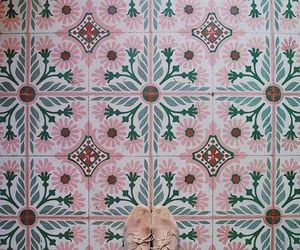 pink, pattern, and tiles image
