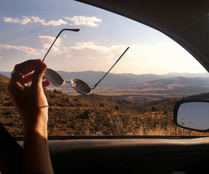 travel, car, and sunglasses image