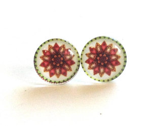 etsy, flower earrings, and flower print image