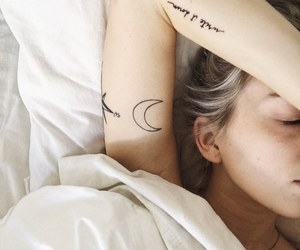 tattoo, girl, and moon image