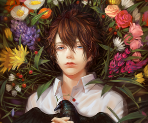 anime, artwork, and flowers image