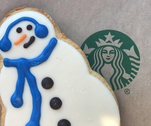scarf, snowman, and starbucks image