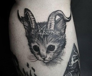 cat, tattoo, and demon image